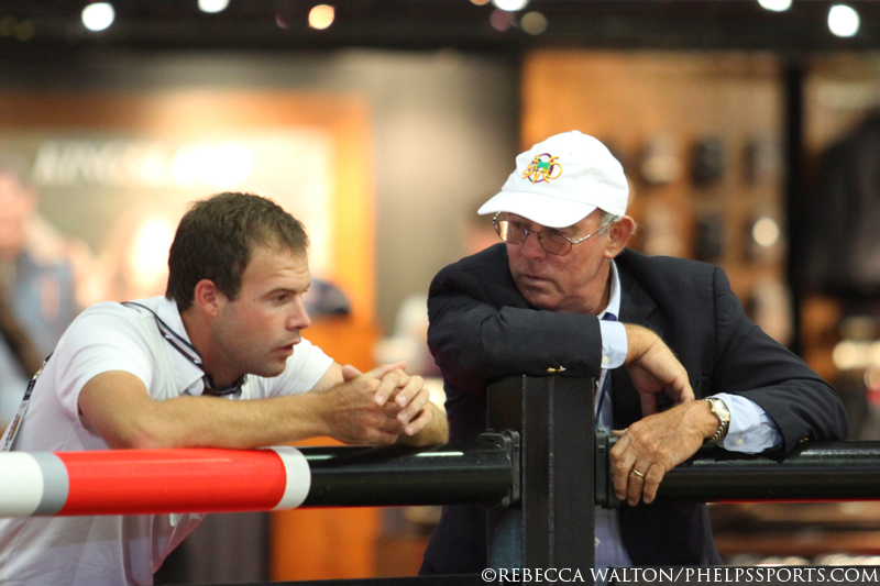 Hardin and Jack Towell contemplate a strategy during the Longines LA Masters