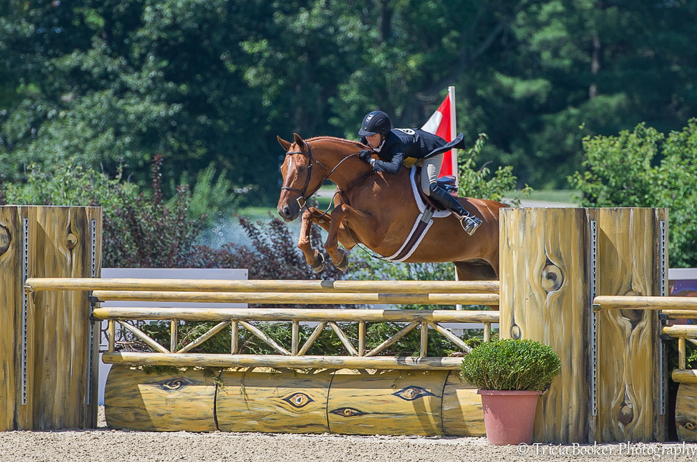 Liza Boyd and Brunello on their way to the 2014 USHJA International Hunter Derby Championship.