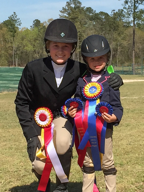 Maggie Hill and Elle Boyd with their ribbons from the Camden Spring Classic.