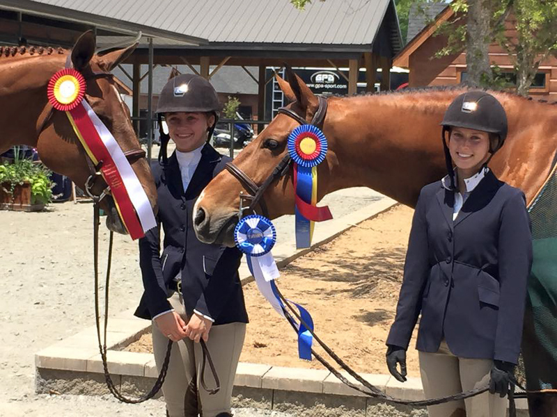 Lily Bennett and Maraschino, left, and Addison Byrd and Too Cool share a winning photo at Tryon.