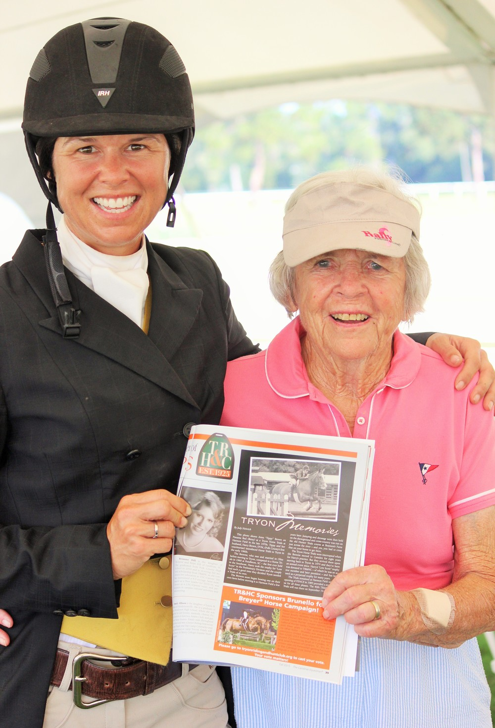 Liza Boyd and Janet Peterson with the Brunello Breyer campaign ad pictured in The Carolinas Horse.