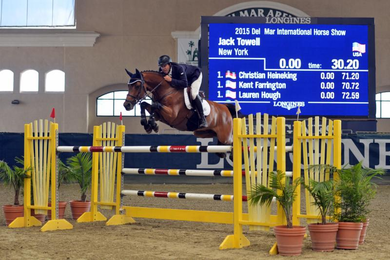 Hardin Towell won the $33,000 Del Mar Welcome Grand Prix aboard New York