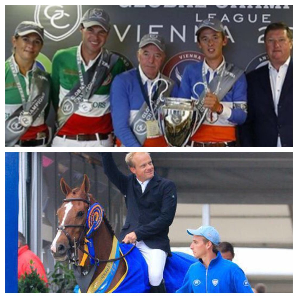 Above: Hardin Towell, second from left, and his Global Champions Tour teammates and Garant, below, the horse he co-owns.