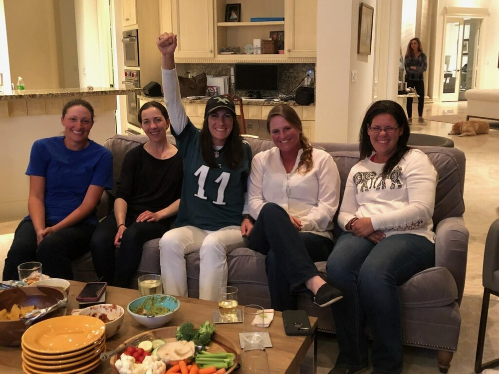 Liz Fogleman, No. 11, was especially thrilled to see the Eagles win the Super Bowl!