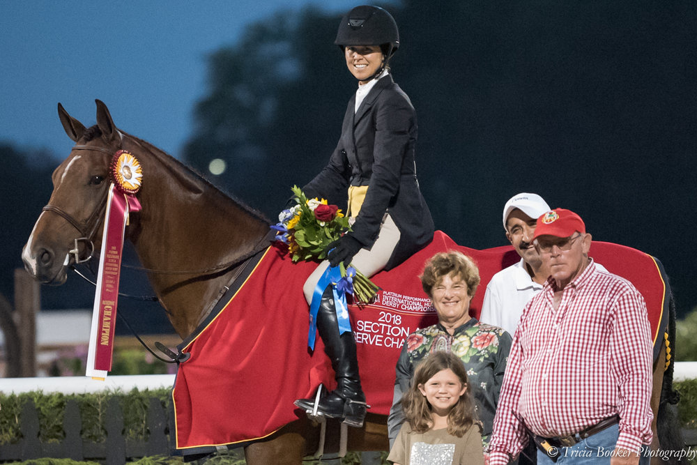 Liza Boyd and Clemens, with owner Ann Misenheimer, daughter Elle Boyd, groom Alberto Ramirez and trainer Jack Towell.