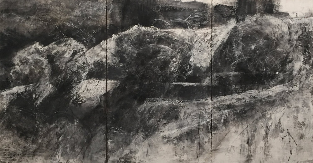 """TRIPTYCH, 2018, Mixed technique on Plaster, 52"""" x 96"""""""