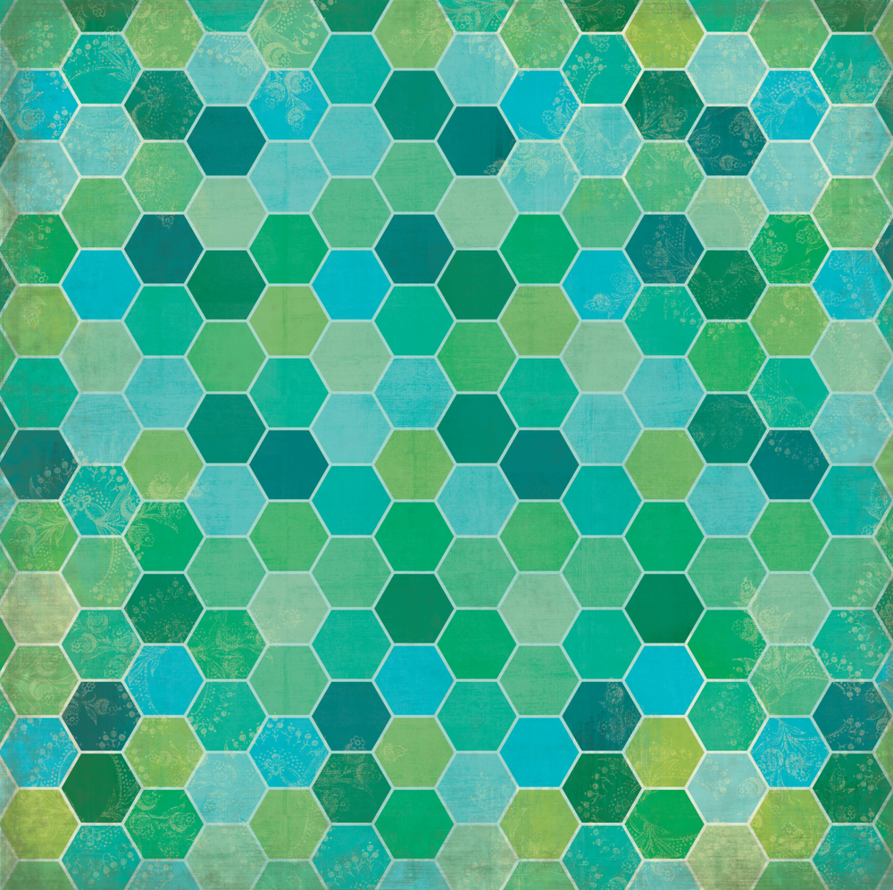 custom design surface pattern hexagons greens teals blues vintage inspiration nonna design illustration.png