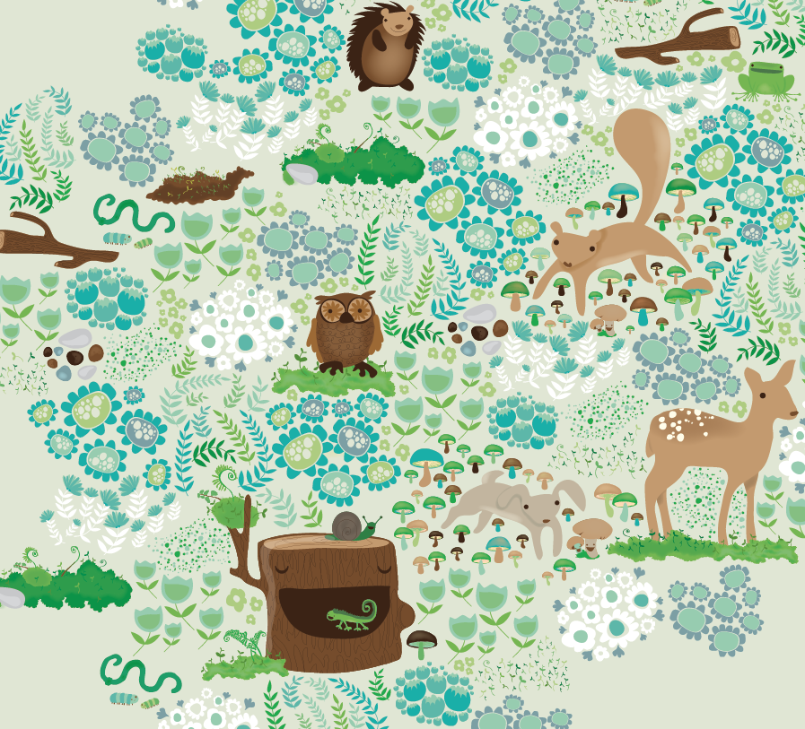 custom design surface pattern ferns animals deer bunny owl flowers nonna design illustration fern nature.png