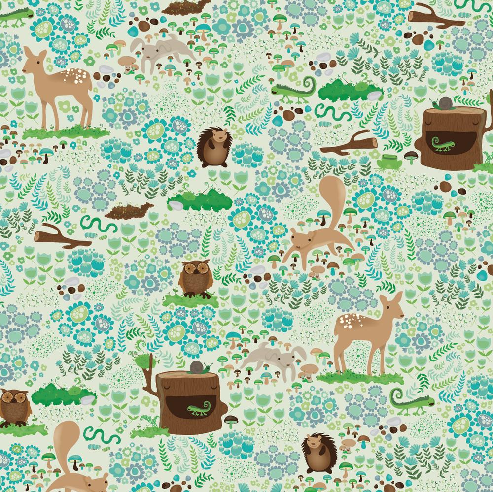 design surface pattern deer squirel owl fern flowers bunny nonna design illustration