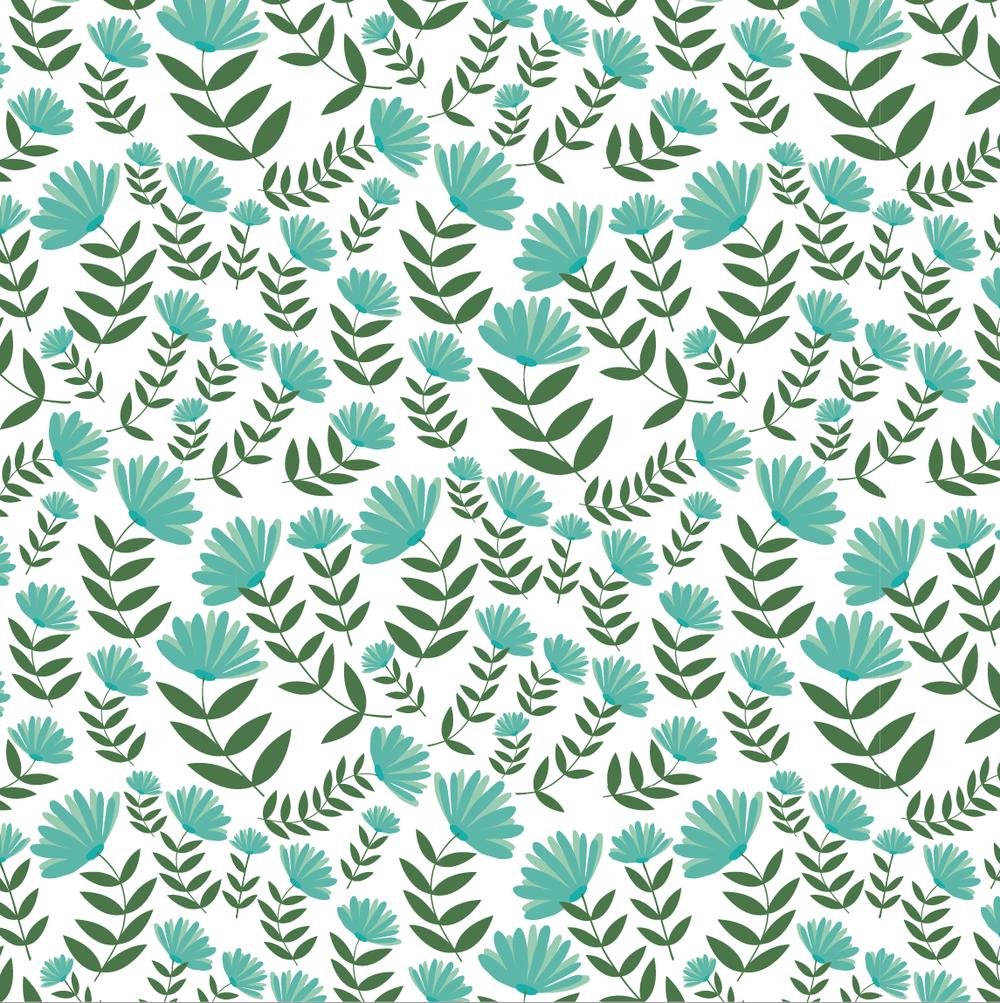 design surface pattern flowers teal green nonna design illustration