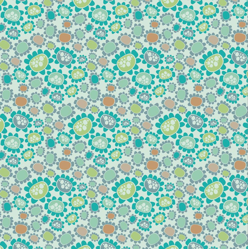 design surface pattern teal flowers nonna design illustration