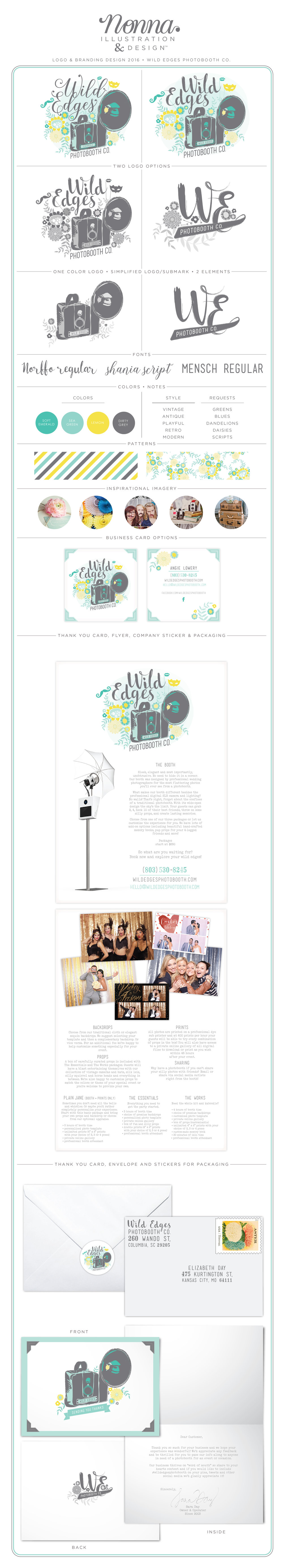 I cannot tell you how much fun I had doing this Branding / Identity for Wild Edges Photobooth Co. Angie, the owner, has such fun ideas in her mind and I was so thrilled to bring it to life! I was able to use my illustration of my Grandfather's old camera and incorporate some adorable flowers into the mix in her favorite colors. Adding the photo props into the logo was a great touch Angie thought of and was so thrilled I Was able to get each request just as she was thinking and hoping for.  Stop by and see the website I did for her as well, it's so fun to see all her sample pictures from events. It really gives you ideas on what kind of parties and events she can do.   Wild Edges Photobooth Co.  -  http://www.wildedgesphotobooth.com/