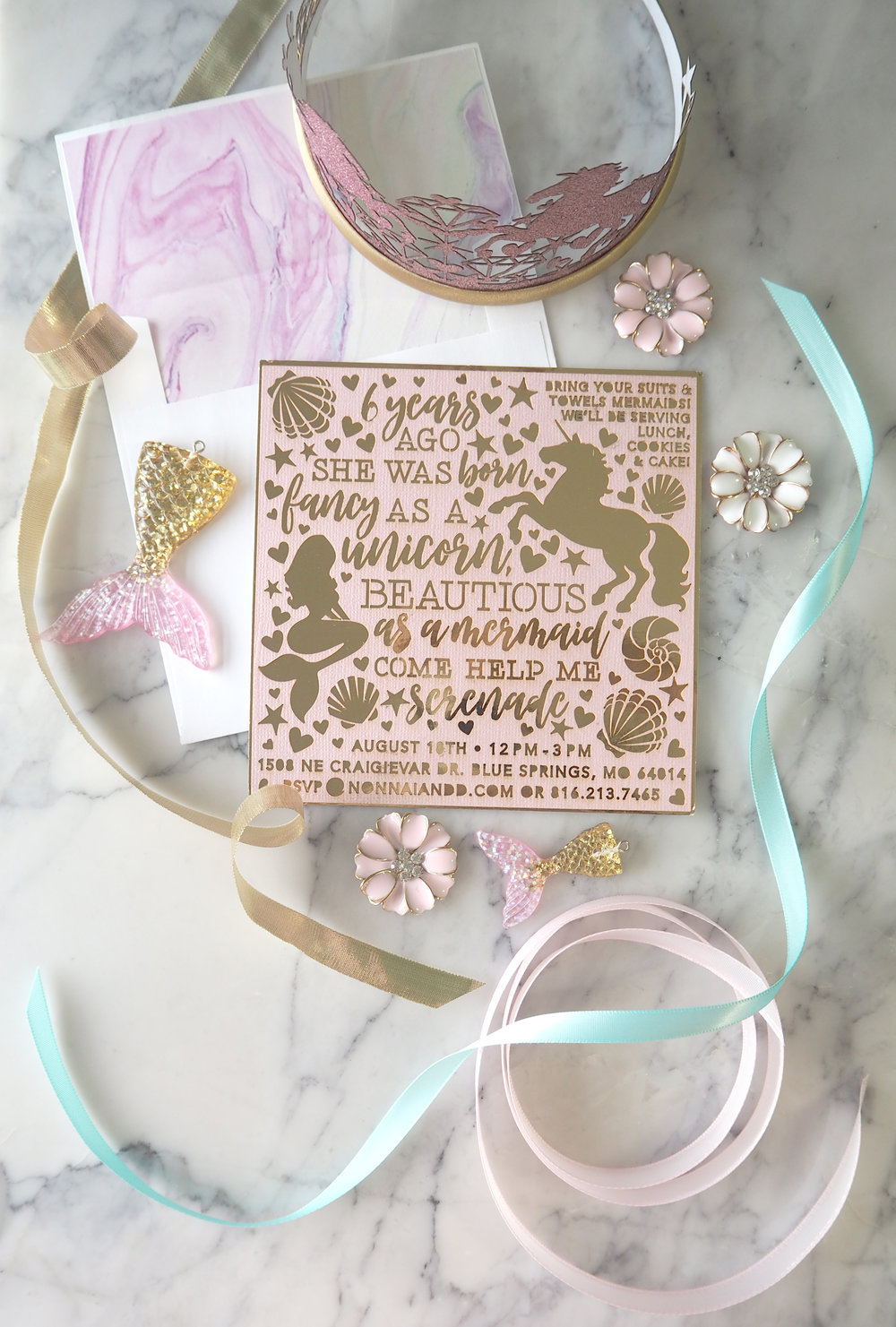 Laser Cut Mermaid Unicorn Birthday Invitation