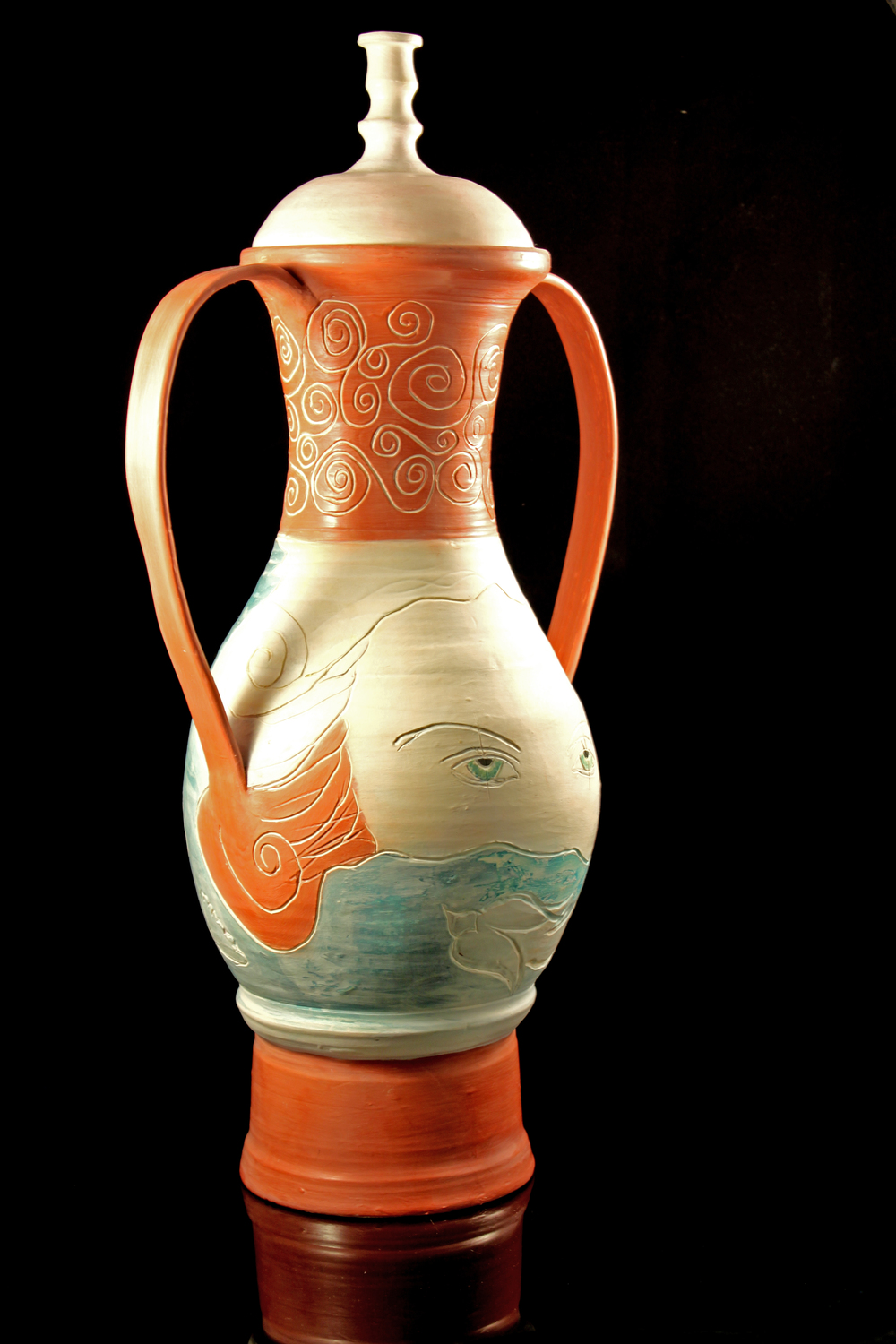 "One of my first terra sigillata projects, twenty years ago, """"See"" of Life,"" amphora"
