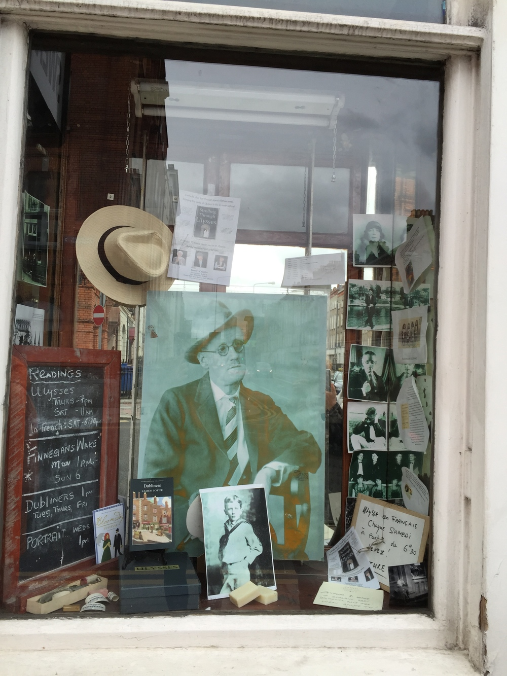 That's right, James Joyce in the window of F.W. Sweny & Co. Ltd. Dublin, Ireland