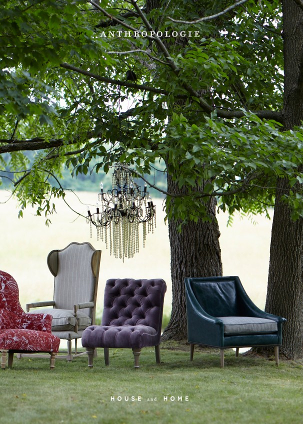 anthropologie house and home catalog cover image with couches and trees