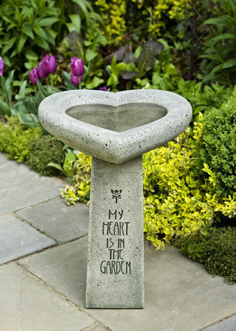 My Heart is in the Garden Birdbath $220