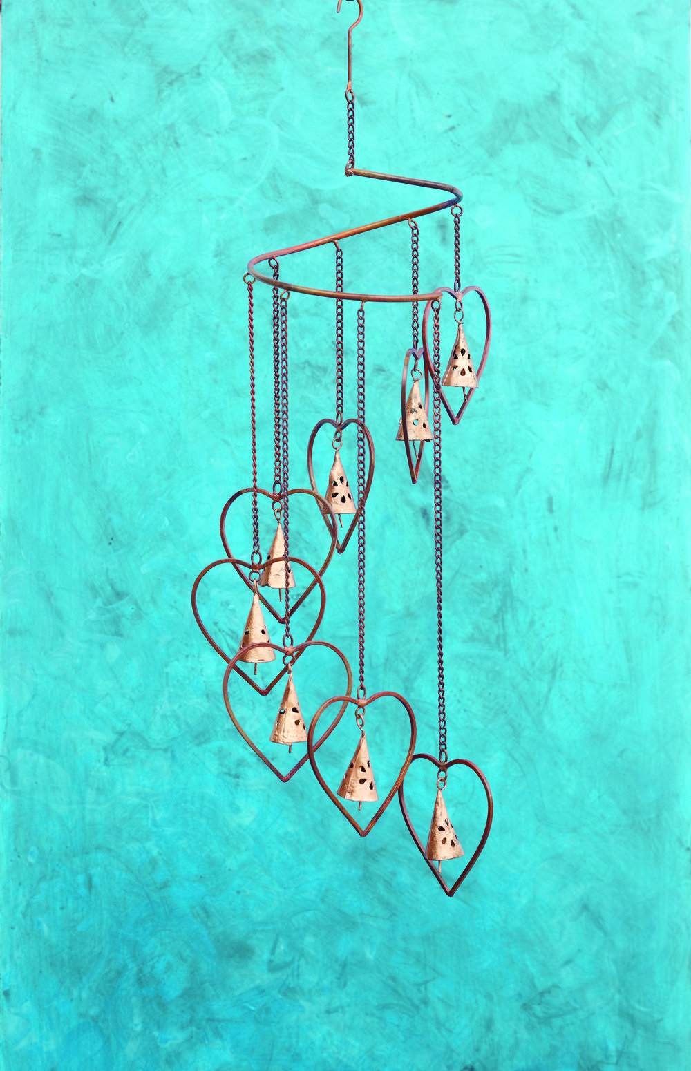 Hearts with Bells Spiral Mobile     $34.95