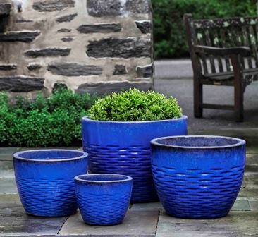 Hyphen Planter, Riviera Blue $440/Set of 4