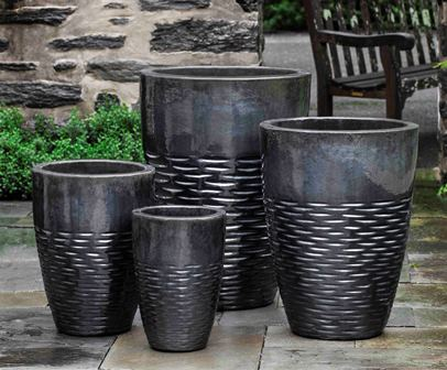 Tall Hyphen Planter, Ice Black $825/Set of 4