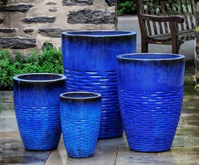 Tall Hyphen Planter, Riviera Blue $825/Set of 4