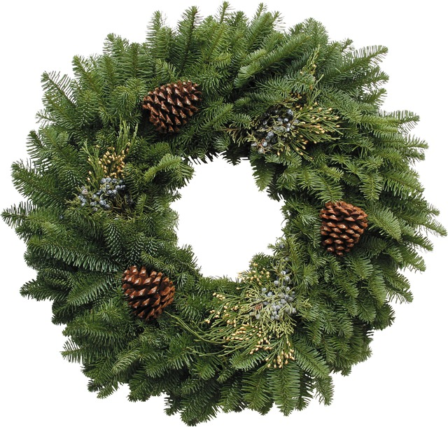 Mixed Wreath - Fresh Noble Fir accented with Incense Cedar, Blue Berried Juniper, and Ponderosa Pine cones. 20