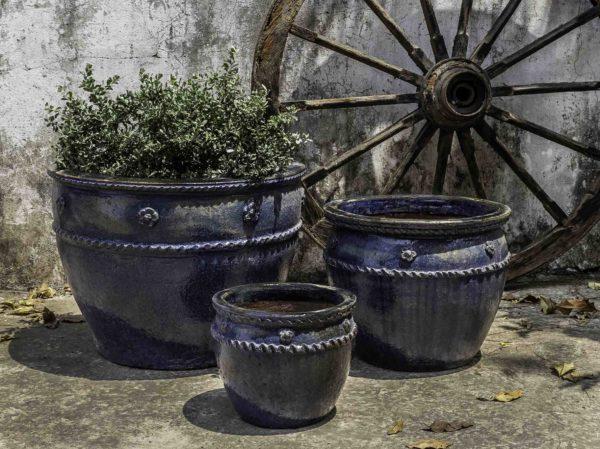 Lirios Planter - Rustic Ironstone Blue