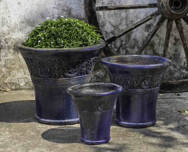 Vallarta Planter - Rustic Ironstone Blue
