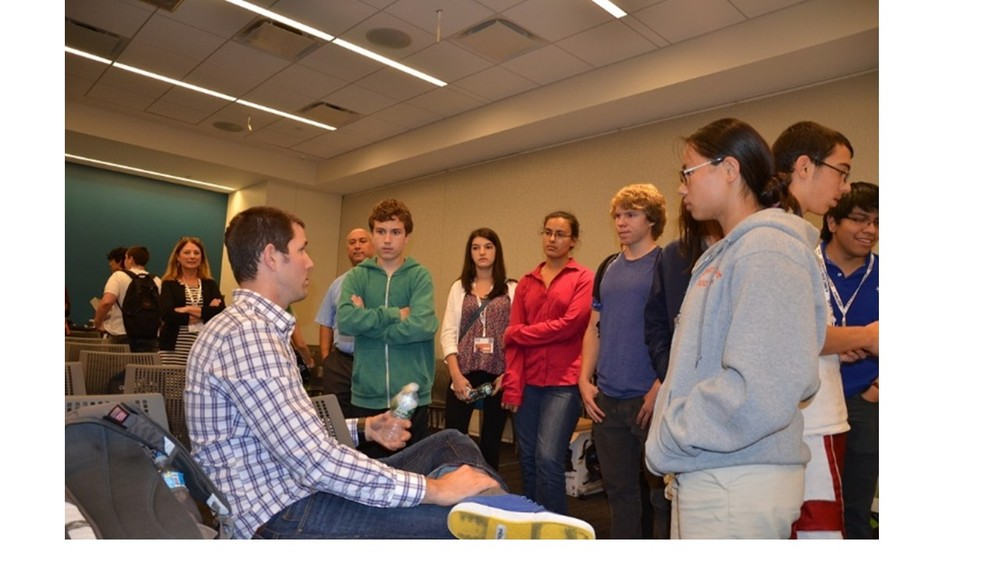 Students gather to speak with  Dave Voyles  a Microsoft Evangelist about his career after he presented a session on  Unity3D  at our  CreatingSTEAM  program.