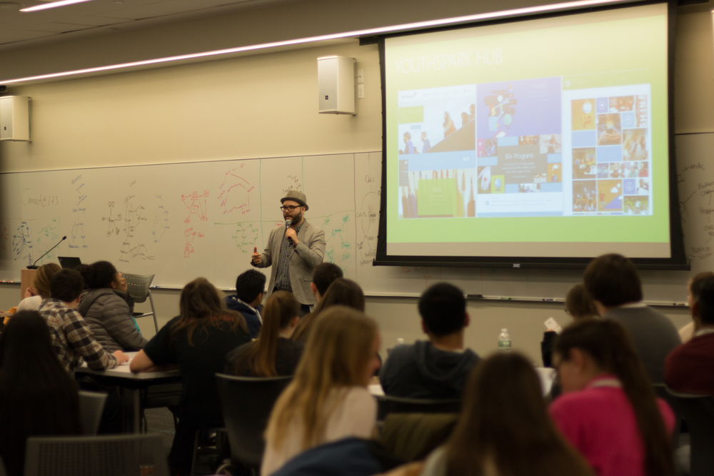 Microsoft Operations and Community Manager, Antuan Santana, giving students some insight as to how STEAM learning and careers will shape their futures, and what Microsoft is doing to give students access to STEAM educational resources.