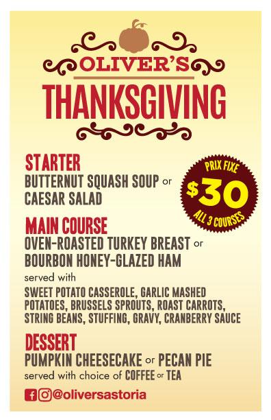 oliver's thanksgiving dinner astoria