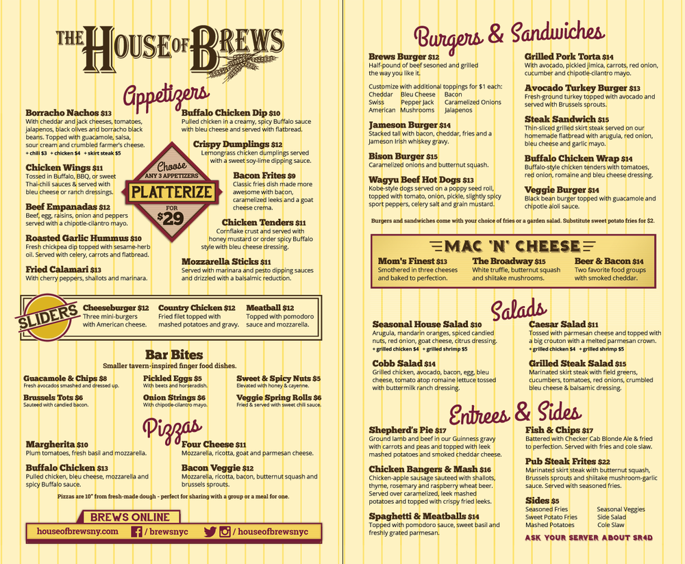 House of Brews Food Menu - 51st Street!