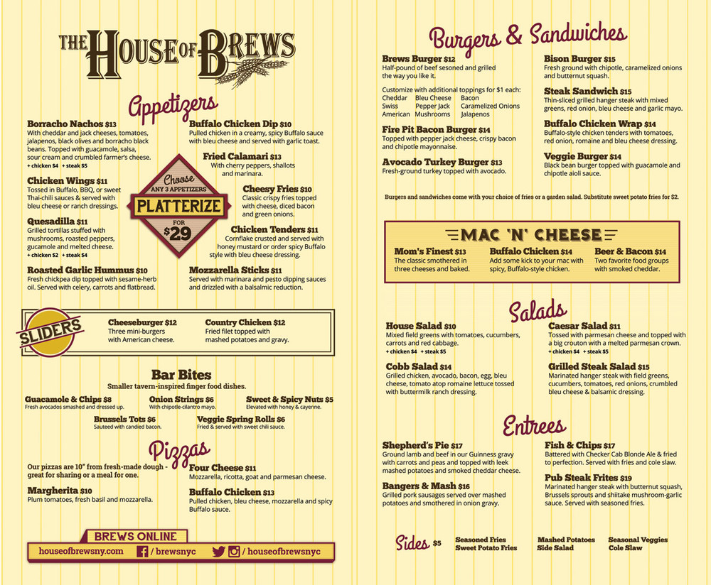 House of Brews Food Menu - 46th Street!