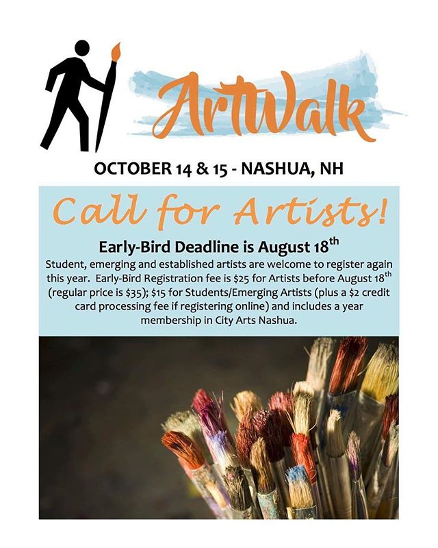 Only a few days left to take advantage of our early-bird registration rate for the upcoming Art Walk weekend. Be sure to head on over to www.cityartsnashua.com to easily register online. And spread the word! This great event is open to all established, emerging and student artists - we even have special student rates! . . . . . . . . #nashua #downtownnashua #nh #artwalk #localartist