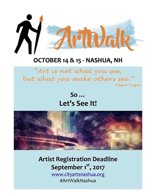 There is still a little over a week left to register for ArtWalk weekend! Head over to www.cityartsnashua.org to register online.