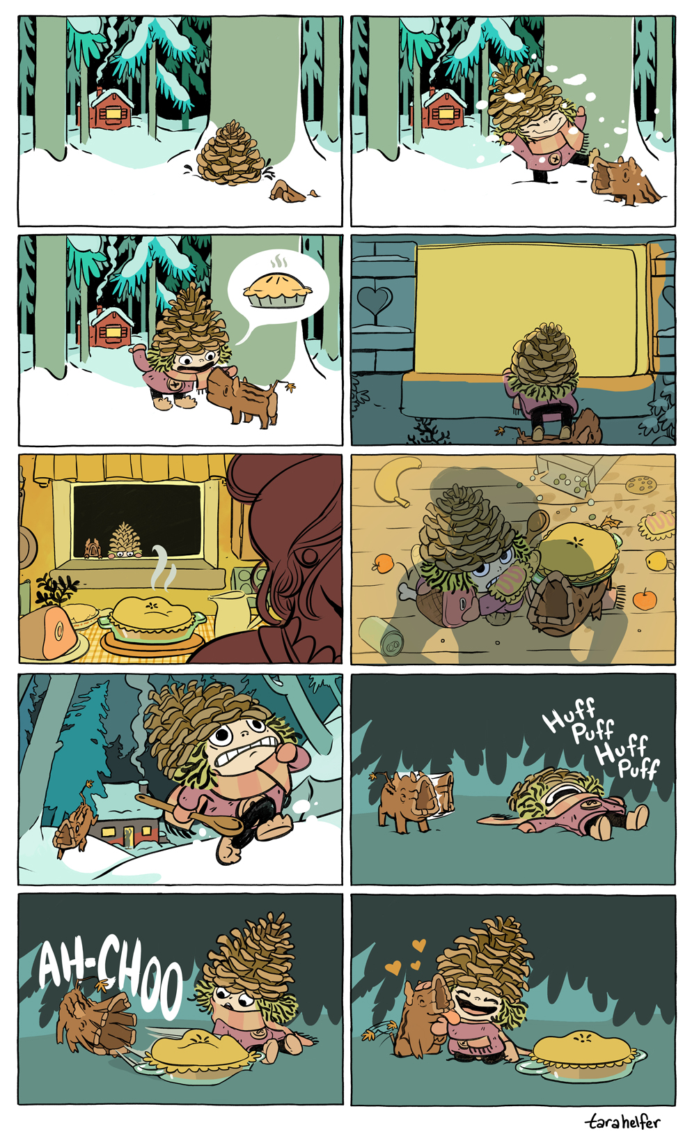 A short comic to chase away any late-winter blues. This was originally posted to twitter two panels at a time. Abbigale and her tree piglet friend Truffles are based off old holiday characters, particularly yule lads and trolls.