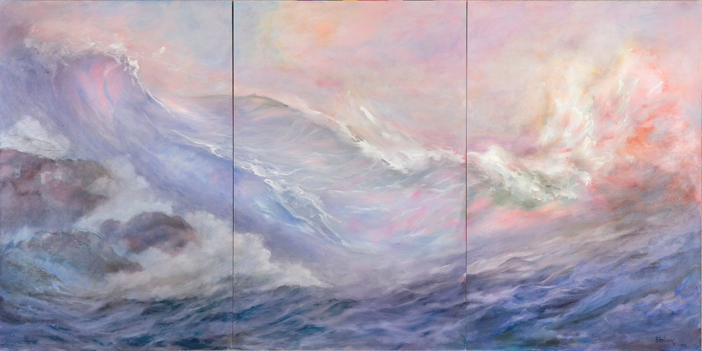 Sea Dreams II (triptych), oil on board, 36 x 72