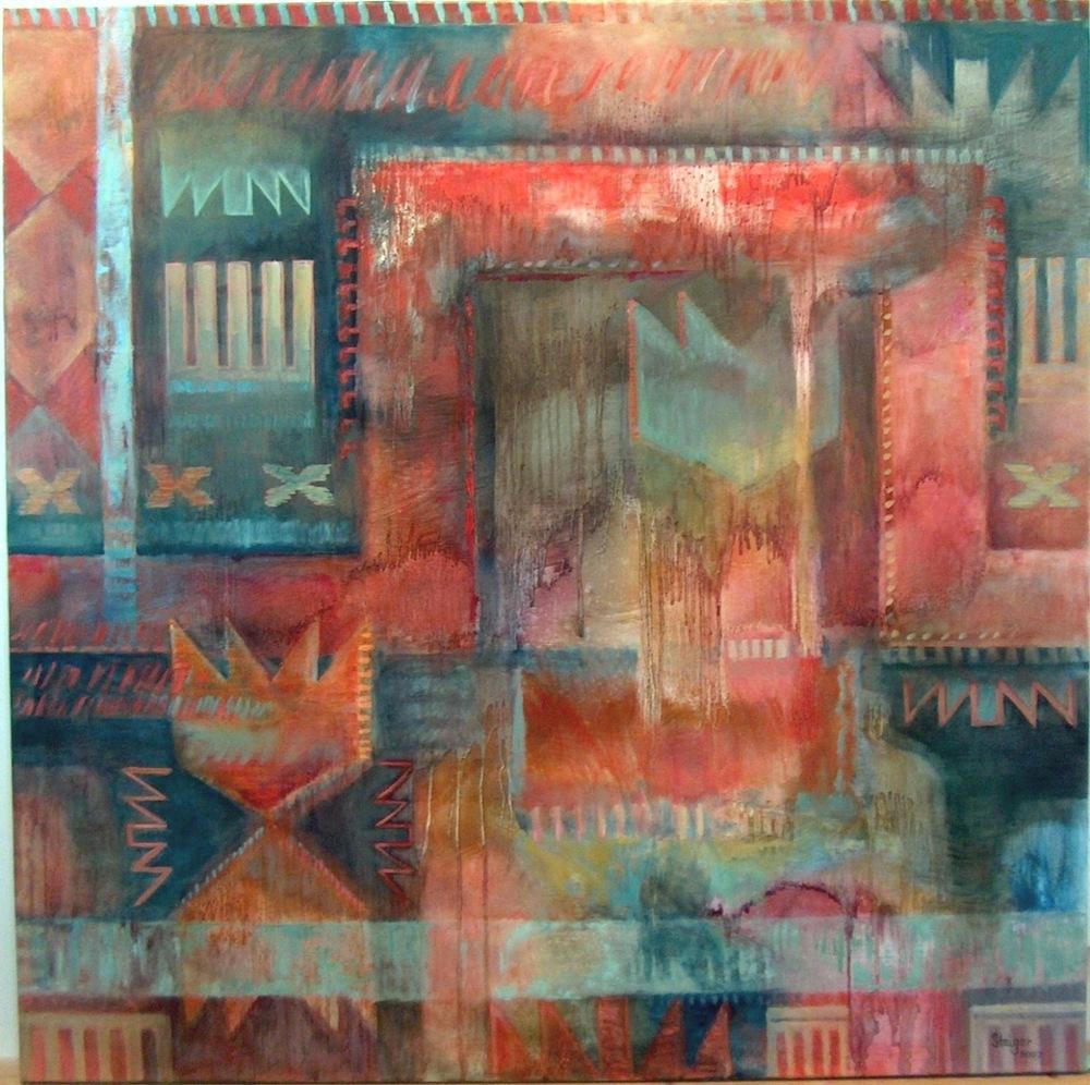Threads, 44 x 44, oil on canvas, $2600.