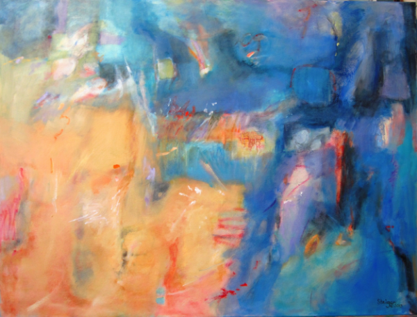 "Coastal I, ""Aegean"", oil and oil pastel on canvas, 36x48, NFS"