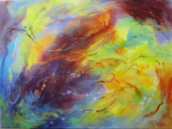 """""""Summer Rush"""" (framed), 30 x 40, $2200."""
