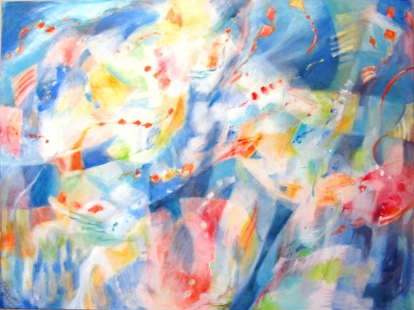 """Kite Winds"", 36 x 48, oil and oil pastel on canvas, $2400."