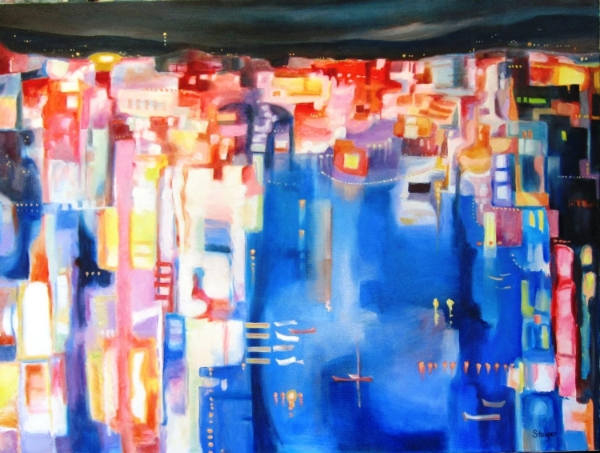 """Harbor Lights"", 36 x 48, oil on canvas, SOLD."