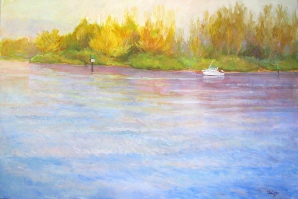 """Morning on the Indian River"" (framed), oil on board, NFS"