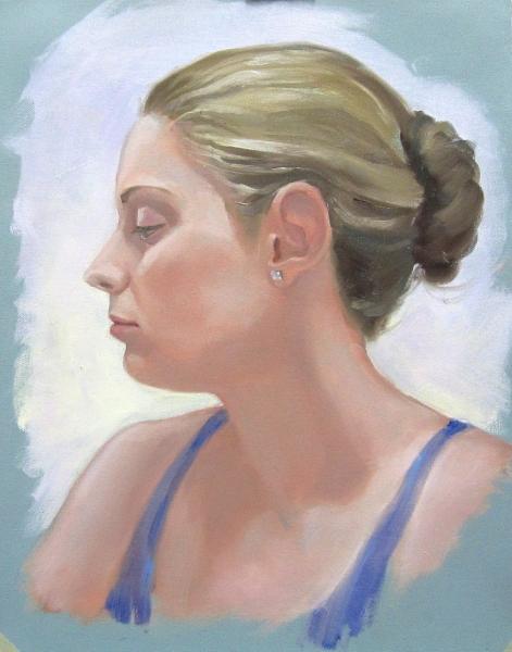 """Shari Evans"", portrait demo, oil on canvas, NFS"