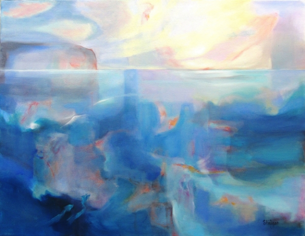 """Dawn Reef"", (Coastal Series), oil and oil pastel on canvas, 24 x 30, $1200."