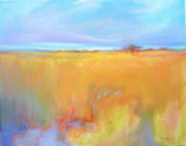 Summer Field, oil and oil pastel on canvas, 24 x 30, SOLD.