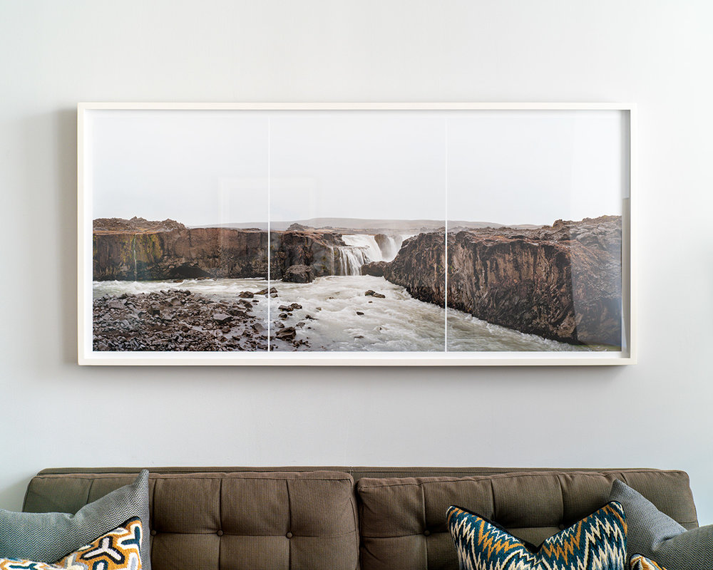 """Hrafnarbjargafoss, Iceland"" ,   28""x61"", edition of 3, in a collector's office in Chelsea, NYC."