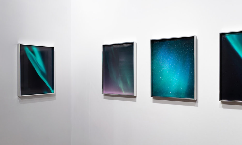 """Aurora  series,   20""""x16"""" each, edition of 10, installed at  Flat File Art"""