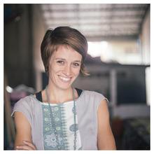 Rachel in the Tonle work room.