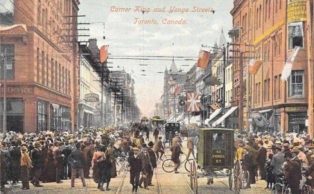 From a   1910 postcard   of Toronto's King and Yonge intersection looking north